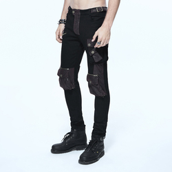 Steampunk Retro Steampunk Personality Leather Stitching Gothic Rock Hip Hop Straight Casual Trousers Brown
