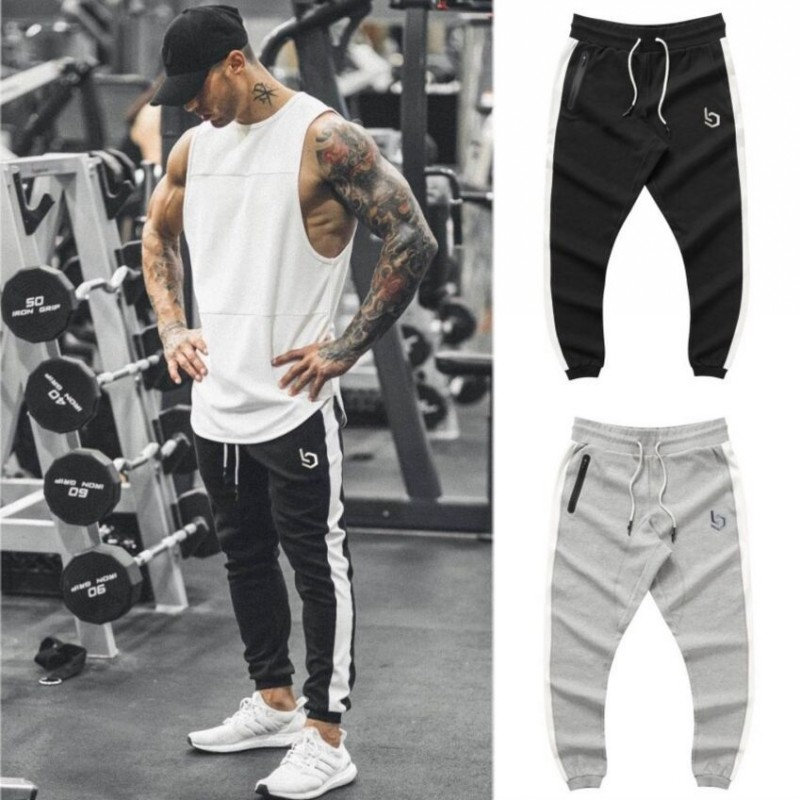 Gyms Brand Summer Fitness Men's Pants Elastic Breathable Sweat Pants Grey Drawstring Pants Trousers Zipper Pantalon Homme