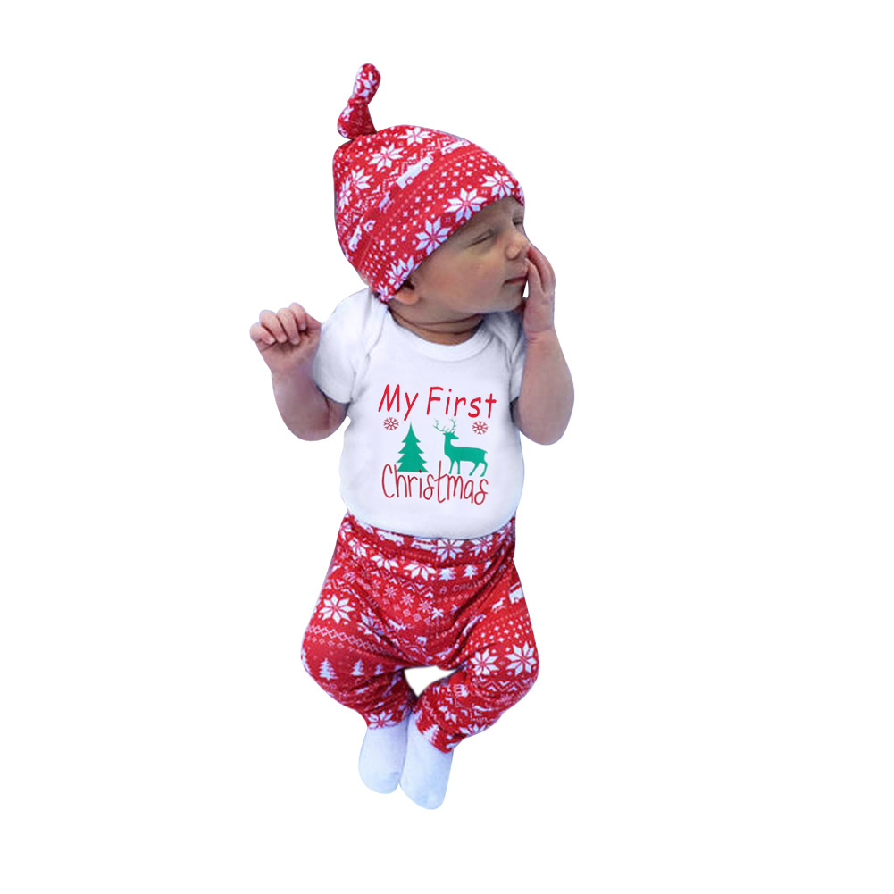2017 Симпатичные новорожденных для маленьких мальчиков Обувь для девочек мой первый Рождественская одежда комбинезон, штаны Шляпа Комплекты...