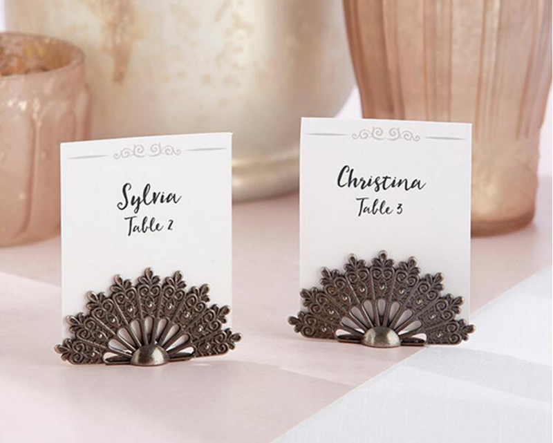 10pcs Vintage Fan Shape Name Number Table Place Card Holder For Wedding Party Anniversary Venue Decoration