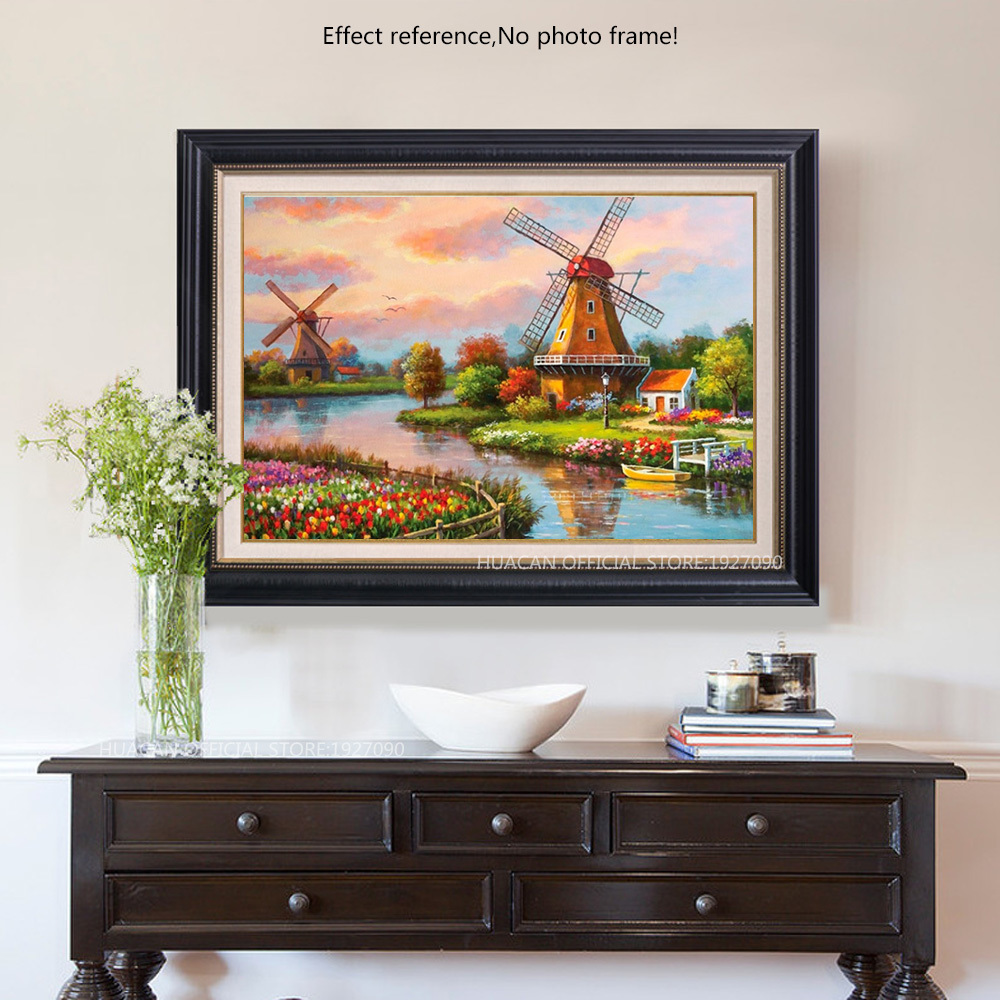 Diamond Embroidery Windmill House Diamond Mosaic Landscape DIY Full Square Round Drill Decoration Home Diamant Painting H401 in Diamond Painting Cross Stitch from Home Garden