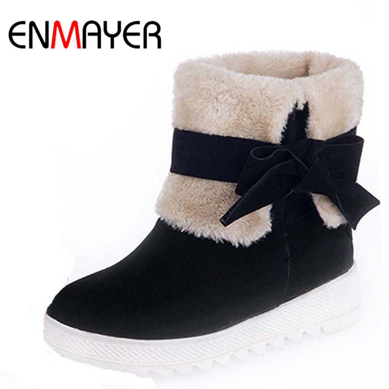 ENMAYER Women Boots Shoes New Big Size34-43 Round Toe Bowtie Flock Ankle Boots For Women Med Winter Nubuck Warm Motorcycle boots aiweiyi big size 34 43 women ankle boots flock round toe gladiator shoes women fur warm winter shoes for women snow boots botas