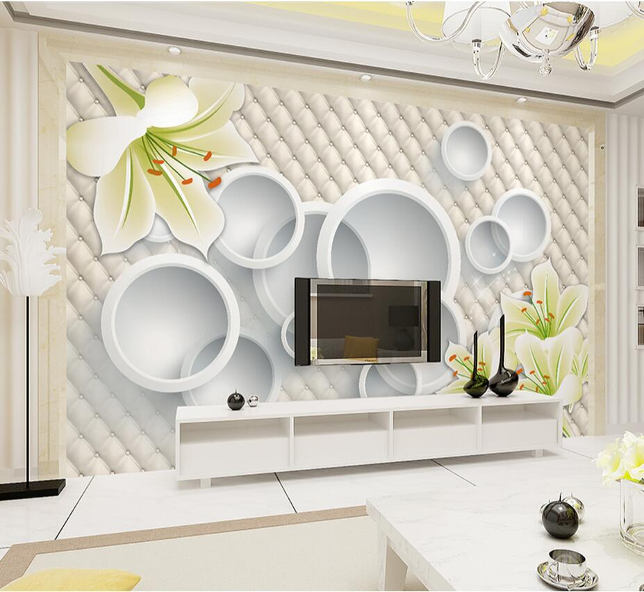 Embossed White Lily Flower Circle Wallpaper Mural Photo Wall Paper Living Rooom TV Background Wall Art Decor papel de parede 3d modern character dancing 3d embossed vinyl wallpaper entertainmet ktv hotel bar background mural wall paper art papel de parede