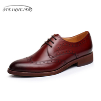 Men Natrual Leather Yinzo Flat Oxford Dress Shoes Mens Vintage Round Toe Handmade Sneaker Wine Red