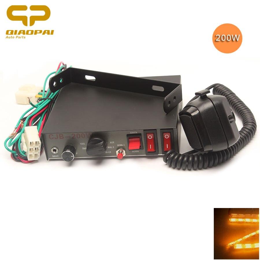 Super Loud 9 Sound Alarm Horn 12V 200w Siren Speaker Controlled Switch Flash Light Train Horn Multi-tone Waring Adjust Volume