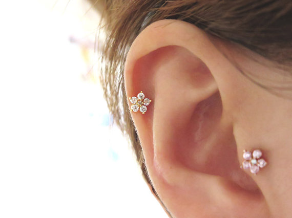 Por 16gauge Flower Cartilage Tragus Earring Cz Stud Helix Piercing Body Jewelry