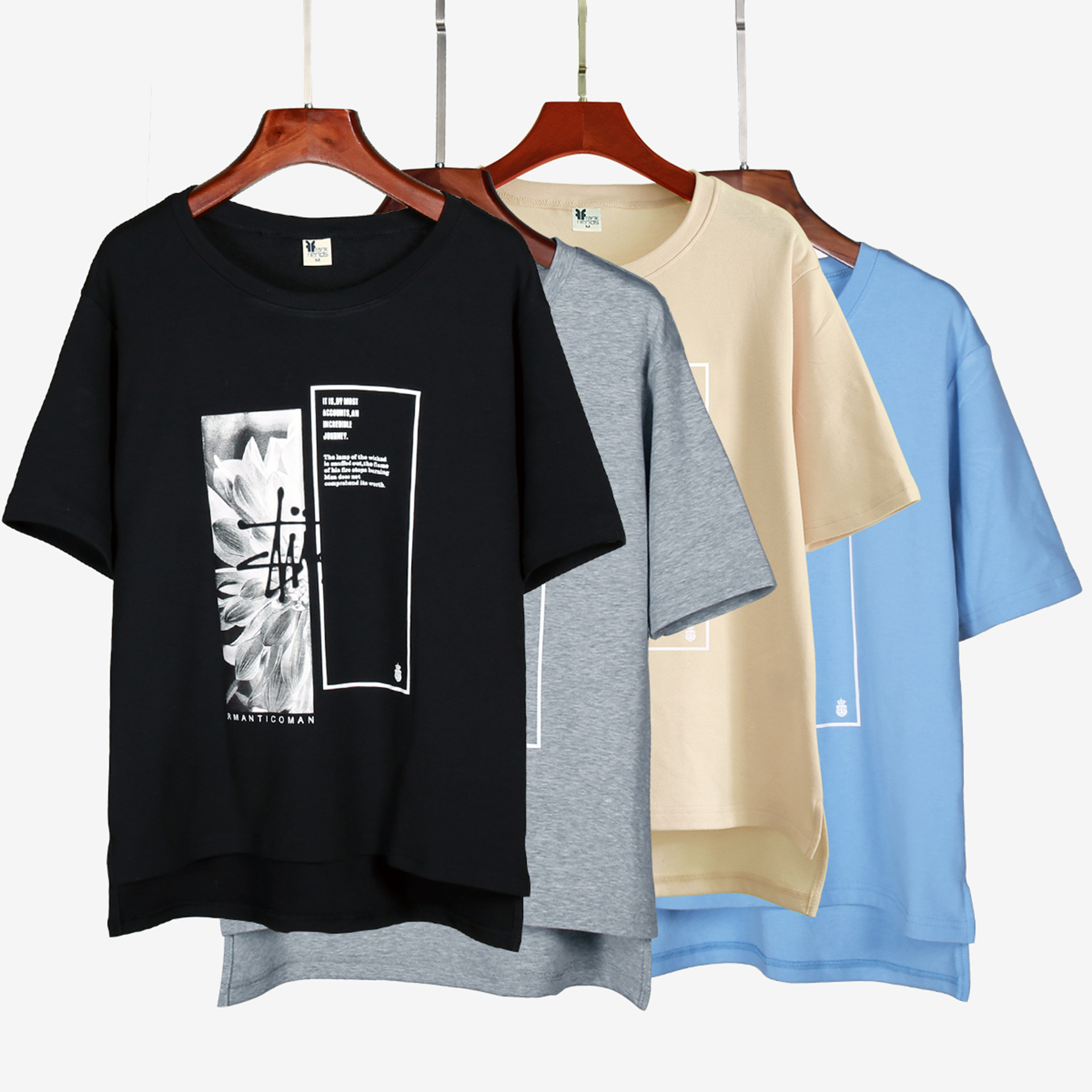 89e68cb920ad Achiewell Summer Casual Women T shirt Round Neck Printed Short Front Long  Back Black White Grey Khaki Pink Blue Cotton Tee Tops-in T-Shirts from  Women s ...