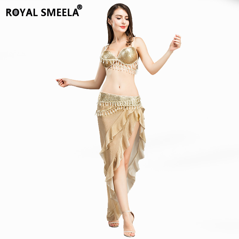 HOT SALE belly dancing sexy pearl Fringed with drill Performance clothing Bra Skirt single split cloth