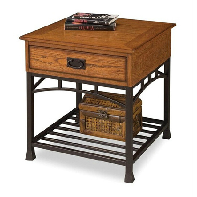 American Country Past Retro Style Wrought Iron Nightstand Bedside Table