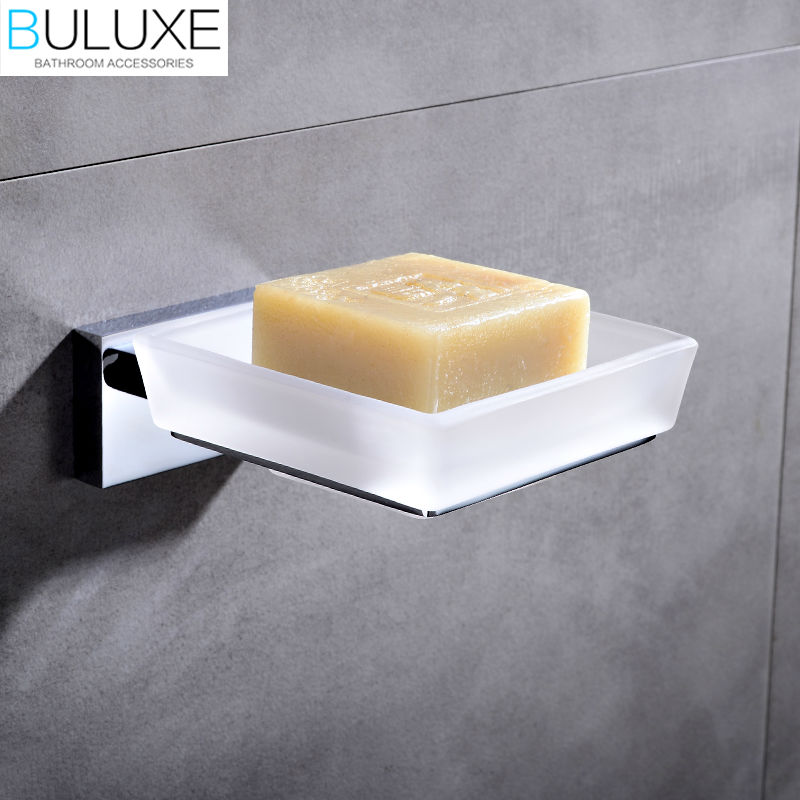 Buluxe brass bathroom accessories wall mounted soap dish holder bath acessorios de banheiro soap for Wall mounted soap dishes for bathrooms