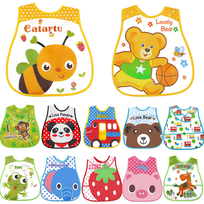Baby Bibs EVA Waterproof Lunch Infants Cartoon Burp Clothes For Baby Feeding