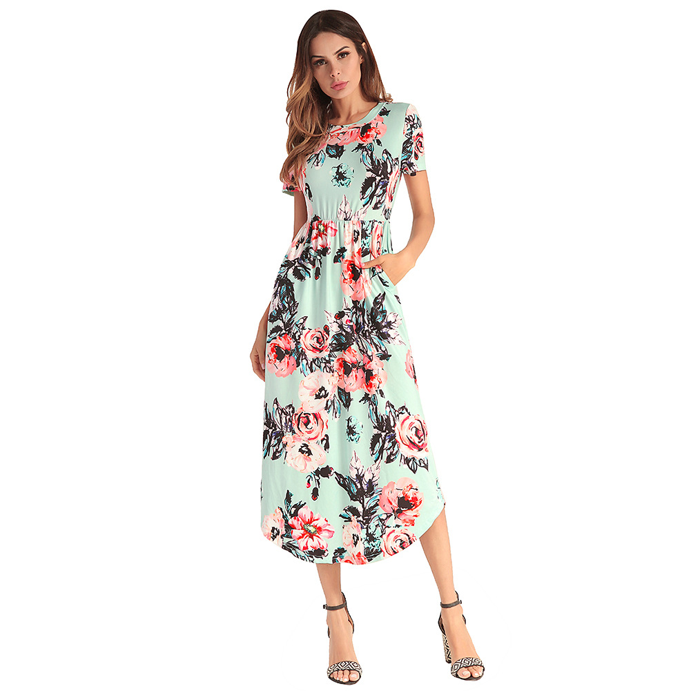 2018 Summer New European, European And American Bursting Womens Dresses And Short Sleeved Dresses With Shor