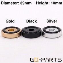 4 個 39 × 10 ミリメートルシルバーゴールドブラック加工固体アルミ DAC ターンテーブルラジオ CD アンプスピーカーキャビネット分離足パッドスタンドコーン