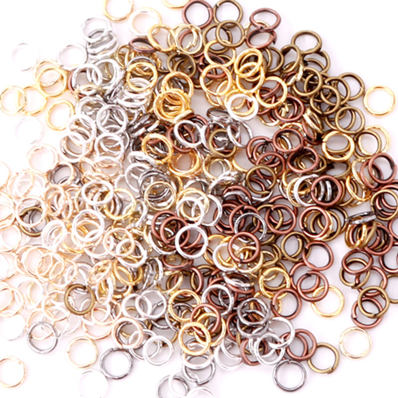 Wholesale 100grams 4mm 5mm 6mm 7mm 8mm Rose gold color Round Iron Jump Rings Single Loop Jewelry Making Accessories Connector