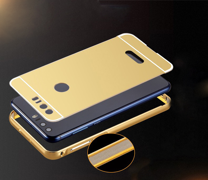 NFH Bumper for Huawei Honor 8 Lite Case Luxury Gold Plating Aluminum Metal Frame + Mirror PC Back Cover For Honor 8 Lite Coque