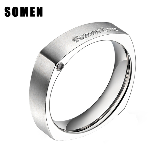 Punk Rock Retro Style Forever Love Engraved Square Ring Silver