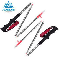 AONIJIE Outdoor 4 Section Folding Alpenstocks Ultralight Carbon Steel Walking Stick Hiking Cane Mountaineering Trekking Poles