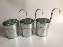 10 unids/lote D9.5XH18CM balde colgante maceta de balcón de hierro maceta para jardín de infantes decoración de Metal para guardería