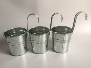 Image 1 - 10pcs/lot D9.5XH18CM Hanging Bucket Iron pots Balcony Flower Pot for Kindergarten Metal Nursery school Decoration