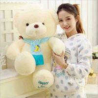 Neue große Reizende Plüschtier Teddybär mit blau rosa Schal Puppe für Weihnachtsgeschenk