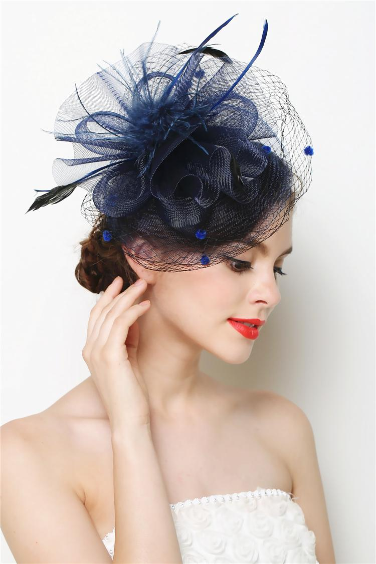 Mini Hat Fascinator Feather Flower Hair Clip Wedding Hats And Fascinators Bridal Hair Acessories