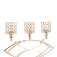3 arms crystal candelabra tealight