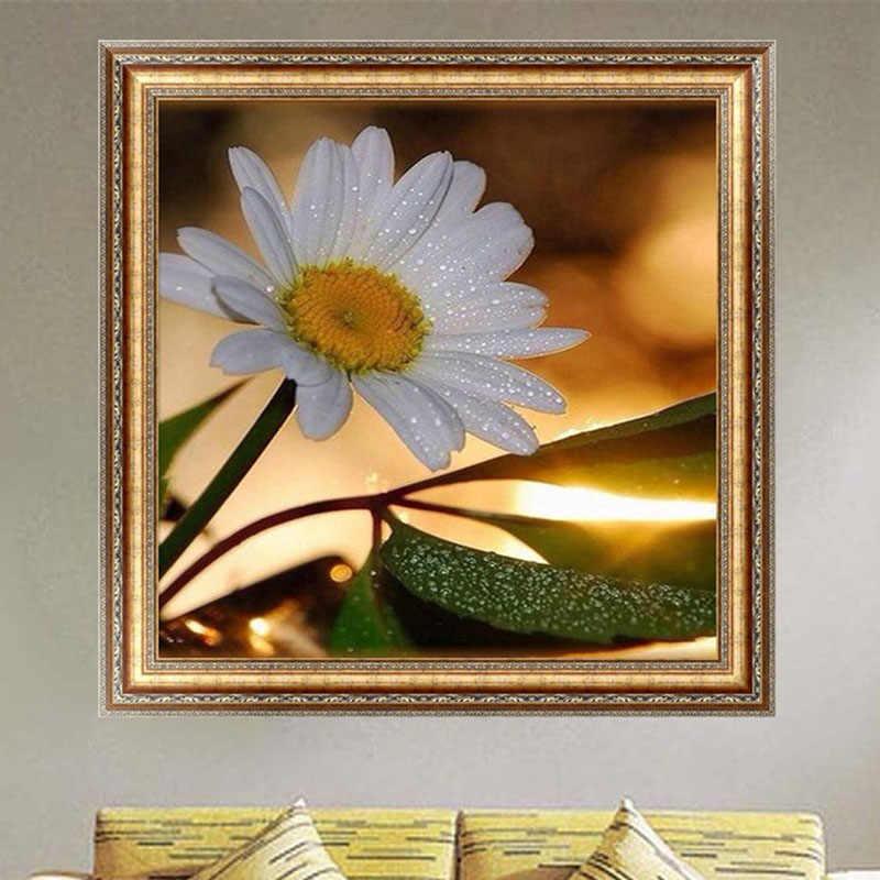 DIY 5D Berlian Switch Kit Bordir Bunga dengan Embun Lukisan Sulaman Cross Stitch Dekorasi Rumah 30*30 Cm