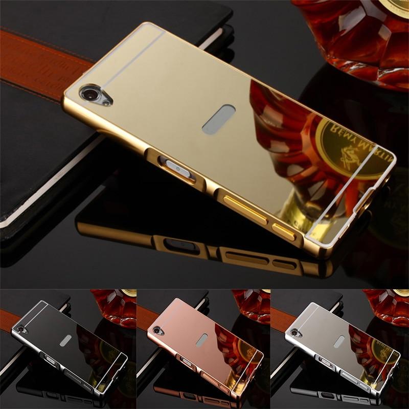 Модные Роскошные зеркальные чехлы из розового золота для Sony Xperia XA1 алюминиевая металлическая рамка задняя крышка для Sony Xperia XA1 5,0 дюймов