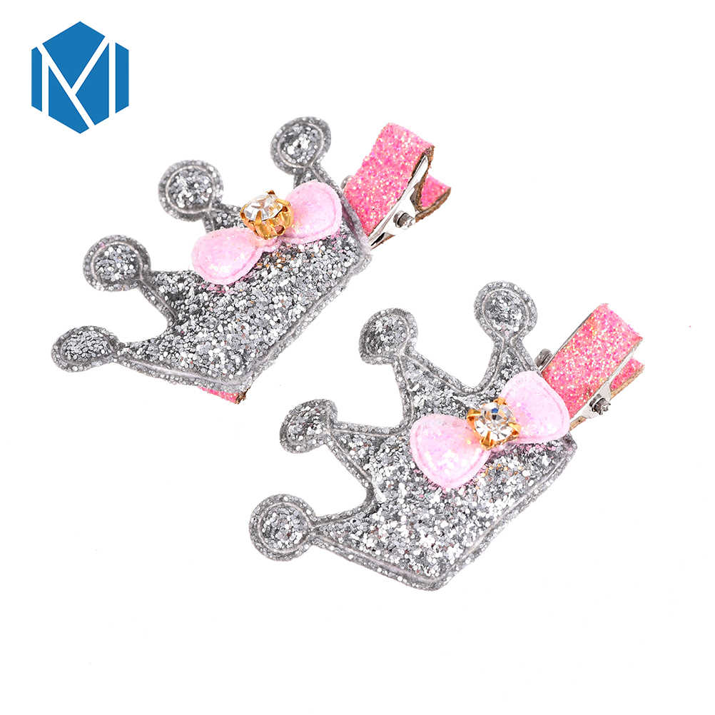 M MISM Hot Sales 2 PCS Crown Hairclips Cute Metal Color Headwear Children Shinny Tiara With Bow Tie For Girls Hair Accessories