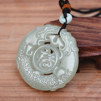 (Certificate) Natural white Hetian Nephrite Stone Hand Carved Antique dragon Pendant Necklace Gift for Women Men Jades Jewelry