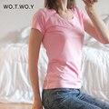 Alta Calidad 21 Del Color Del Caramelo de Algodón Básica de La Camiseta Ocasional de Las Mujeres o-cuello Simple Camiseta Para Mujer de Manga Corta Tops Mujer 001