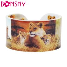 Bonsny Plastic Family Lionet Lioness Bangles Bracelets Wild Jungle Africa Animal Craft Jewelry For Women Girls Teens Accessories(China)