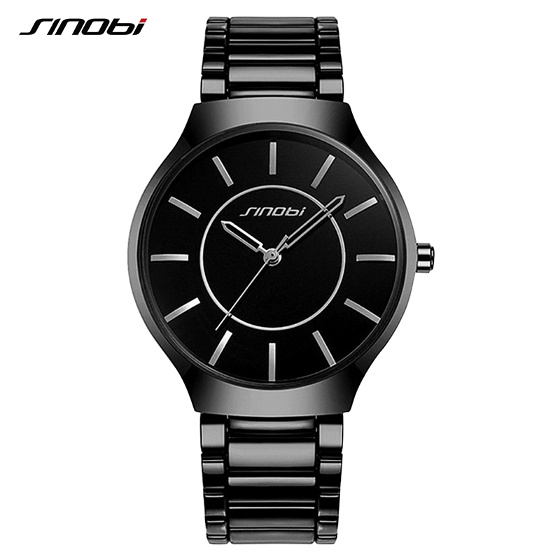 SINOBI Stainless Steel Men Wrist Watches Waterproof Luxury Brand Males Sports Geneva Quartz Clock Hommes Montres 2017 square head sealed string winders for 40 41 acoustic guitar black 6 pcs
