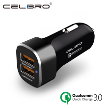 Quick Charge 3.0 Car Charger For Mobile Phone Dual Usb Car-Charger Qualcomm Qc 3.0 Fast Charging Mini Car Phone Charger Adapter(China)
