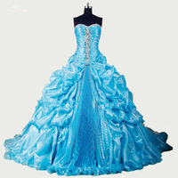 RSE280 High Quality Yiaibridal Crystal Beaded Organza Dropped Bubble Pick Up Skirt Debutante Gown Turquoise Quinceanera Dresses