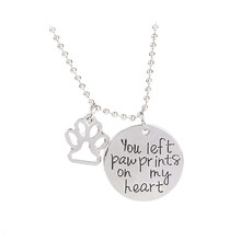 Pet Lover Necklace you left paw prints on my heart necklaces Pet Memorial Necklace Puppy dog Cat Lovely Paw Charm Jewelry Gift(China)