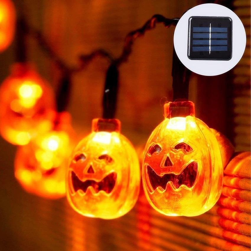 Halloween Solar Powered Pumpkin led String Lights 10/20/30 LEDs Halloween Orange Pumpkin Party Holiday Decoration Lantern Lights plus size halloween pumpkin spatter print hoodie