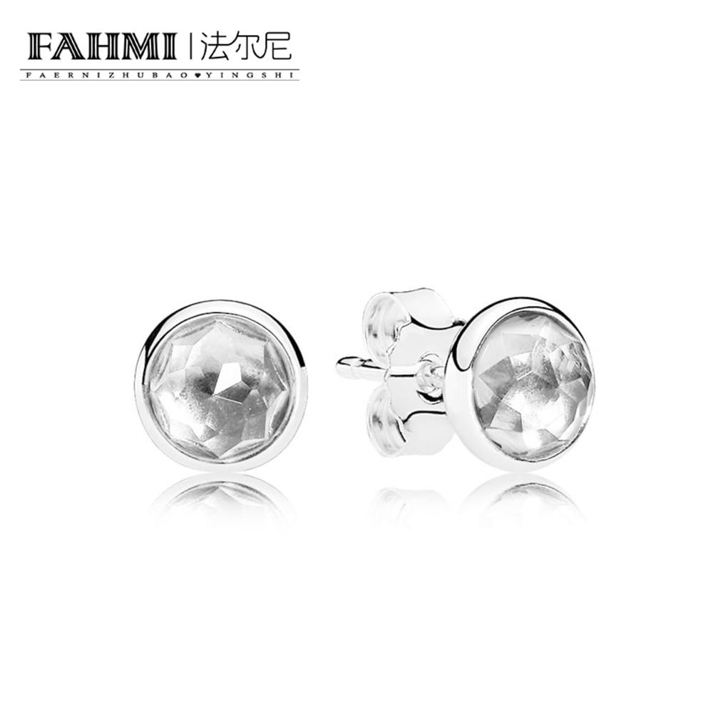 FAHMI 100% Sterling silver 1:1 Glamour 290738RC APRIL DROPLETS EARRING Original Women wedding Fashion Jewelry 2018 0