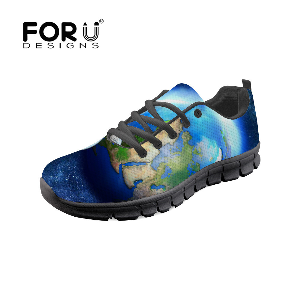 FORUDESIGNS Women Sneakers Casual Shoes Harajuku 2018 Galaxy Earth Printing  Lace Up Female Flat Shoe Tenis Feminino Espadrilles-in Women s Flats from  Shoes ... 2dfd9484073f
