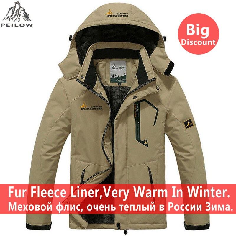 Peilow Большие размеры 5XL, 6XL верхняя одежда, зимнее пальто обувь для мужчин и женщин сгущает водонепроницаемый флис теплая хлопчатобумажная па...