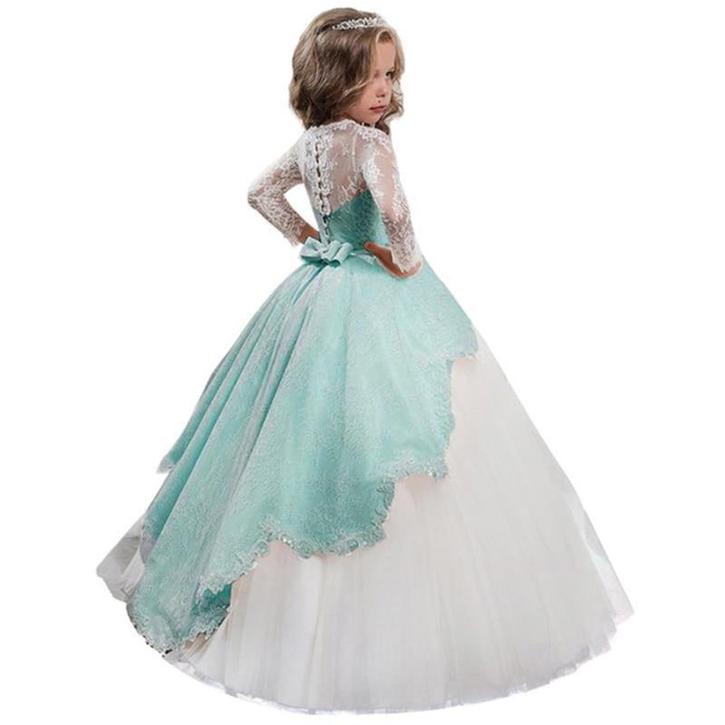 2019 High End Evening Wedding Flower Lace Girl Dresses For Wedding Girls Dress First Communion Princess Dress Costume Vestidos