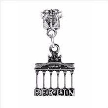50pcs Tibetan Silver Zinc alloy Brandenburg Gate Berlin Germany Landmark Trip Pendants Charms for European Bracelet 35mm x 18mm(China)