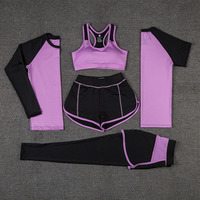 Moaoliao 5 Piece Set Women Yoga Patchwork Yoga Bra Shirt Elastic Quality Sports Suit Clothes Outdoor