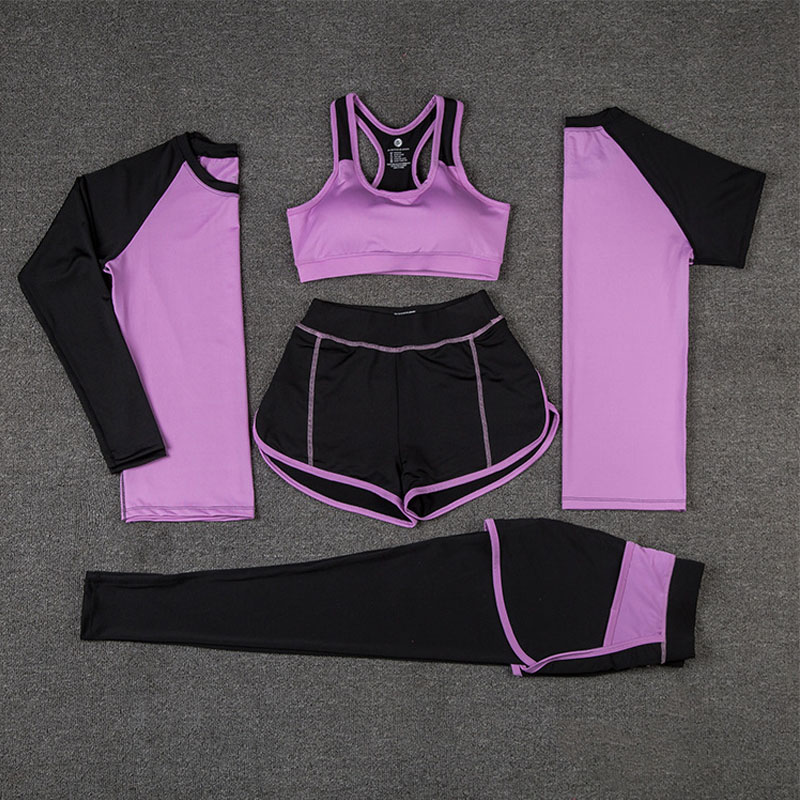 moaoliao 5 Piece Set Women Yoga Patchwork Yoga Bra Shirt Elastic Quality Sports Suit Clothes Outdoor Fitness Running Clothes недорго, оригинальная цена
