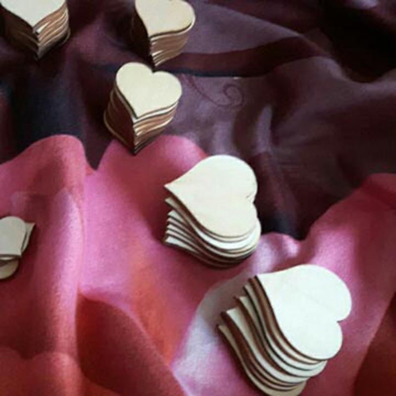 Bedroom Art Supplies: 100pcs Rustic Wood Wooden Love Heart Decor Scatter Bedroom