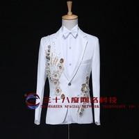 S-2XL!!! 2018 vestiti di Paillette bianco costume maschile abito formale maschile Il cantante abbigliamento