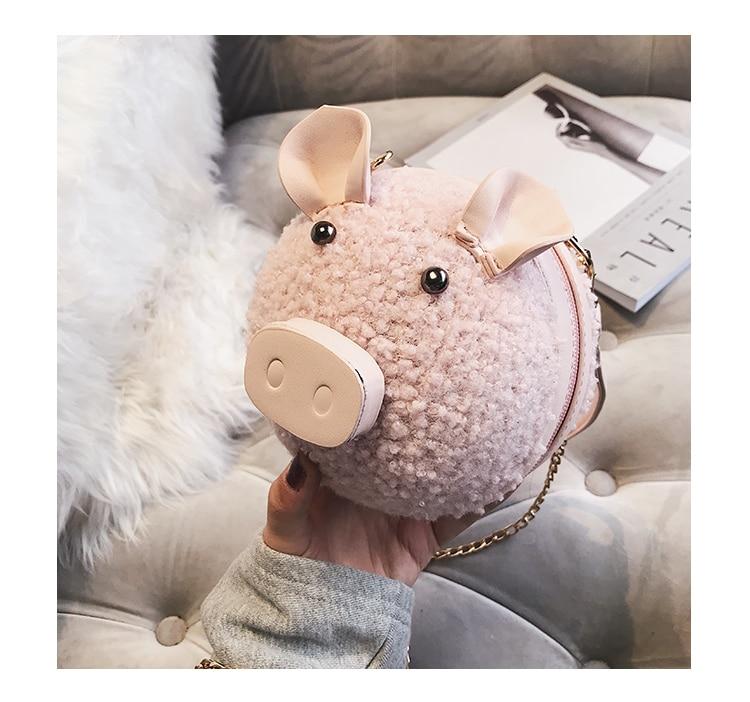 Bolsa Divertida Redonda Porquinho Pelúcia