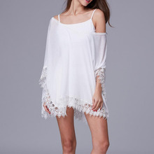Chiffon Bikini Cover Up 2019 Sexy Women Beachwear Summer Kaftan Swim Dress White Lace Crochet Bikini Bathing Suit Swimsuit