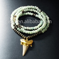 Exclusive Handmake natural amazonite and pyrite beads pendant necklace, fashion high quality beads necklace 32 long