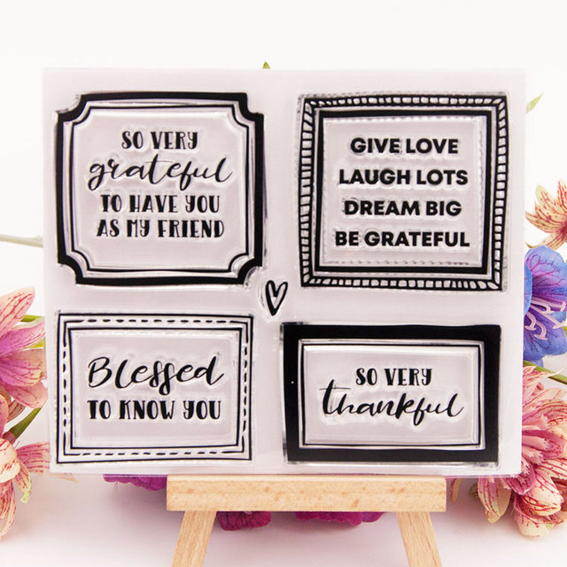 CLEAR STAMPS Label common words DIY Scrapbook Card album paper craft silicon rubber roller transparent stamps